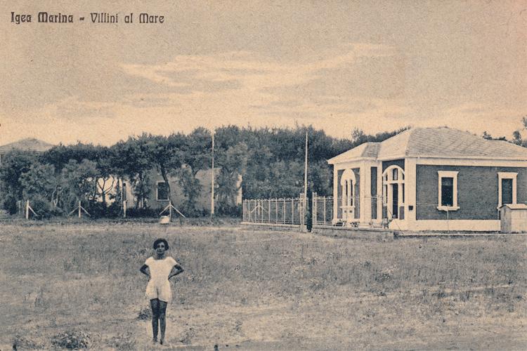 Igea Marina, Villini al Mare, cartolina storica, anni '20, Laboratorio di documentazione e ricerca sociale